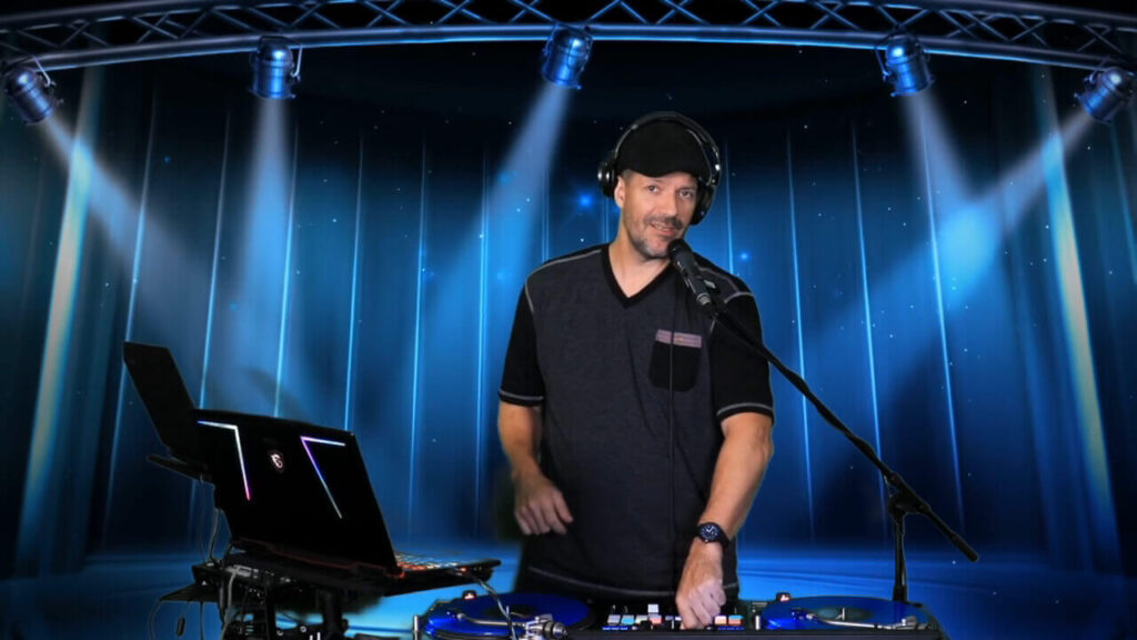 Virtual Event DJ for Dance party on Zoom. Best Virtual DJ setup with custom background. DJ Lee for Virtual Corporate Event on Zoom.